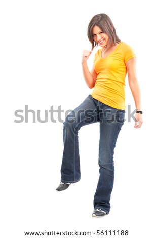 Happy young woman. Isolated over white background - stock photo