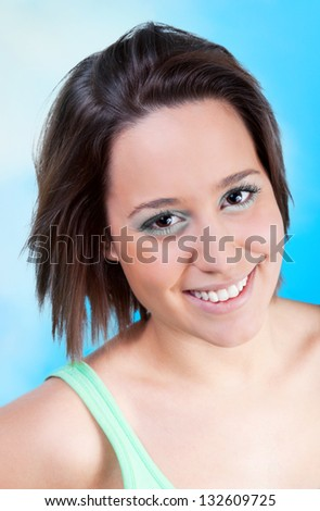 Happy young woman looking forward to the summer - stock photo
