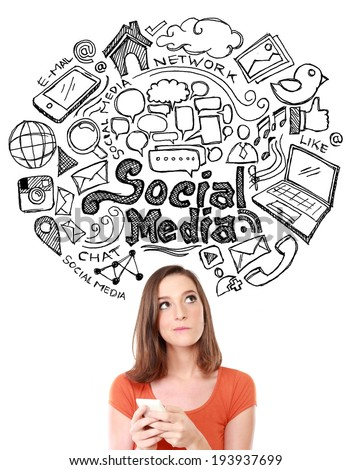 Happy young woman looking up of Hand drawn illustration of social media sign and symbol doodles - stock photo