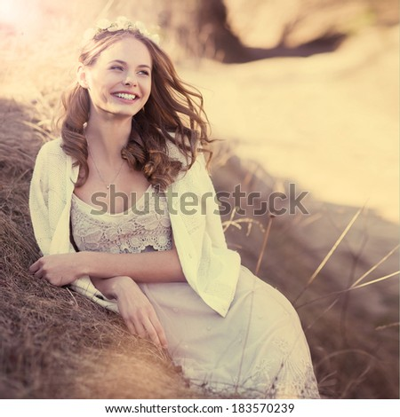 happy young woman on a sunny spring day - stock photo