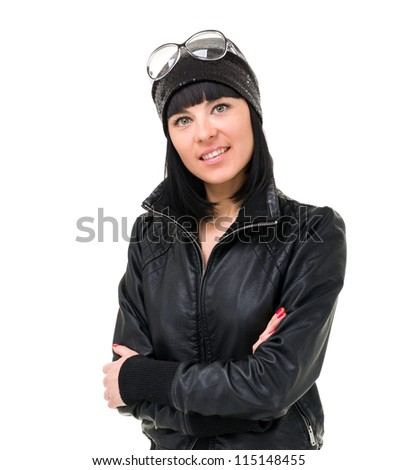 Happy young woman on a white background with copyspace