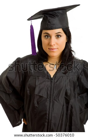 happy young woman on graduation day, isolated on white - stock photo