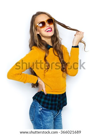 happy young woman or teen girl in casual clothes - stock photo
