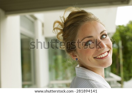 Happy young woman portrait
