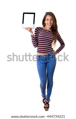 Happy young woman presenting your product in a tablet computer - stock photo