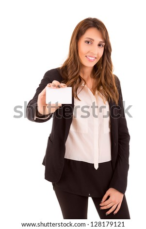 Happy young woman showing greeting card, isolated over white - stock photo