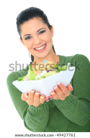 happy young woman showing healthy delicious salad. healthy lifestyle