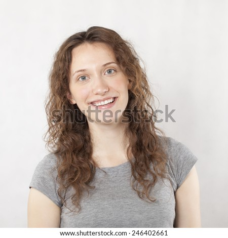 Happy Young Woman Smiling Portrait. - stock photo