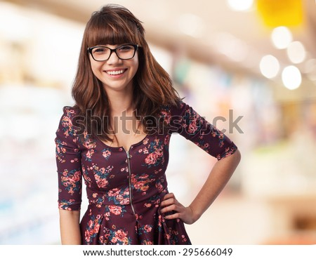 happy young-woman standing - stock photo