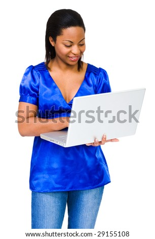 Happy young woman using a laptop isolated over white