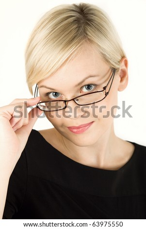 Happy young woman wearing glasses - stock photo
