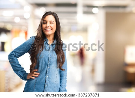 happy young woman wink sign