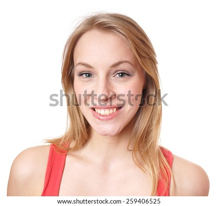 happy young woman with a big natural toothy smile         - stock photo