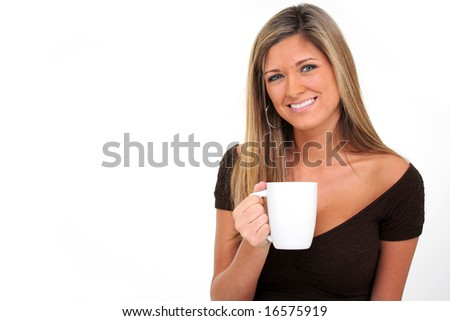 Happy young woman with a white background