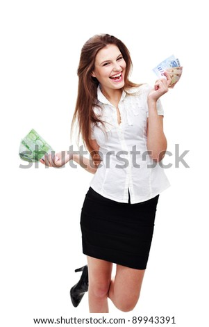 Happy young woman with cash isolated on white - stock photo