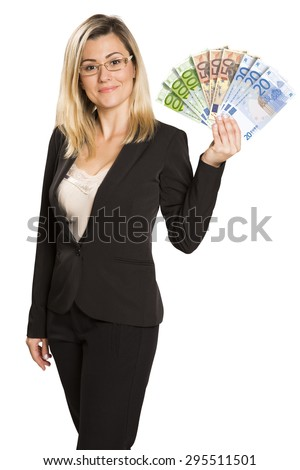 Happy young woman with euro money. Saving account concept