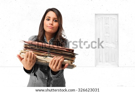 happy young woman with files - stock photo