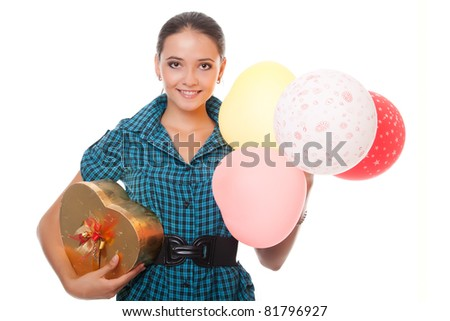 happy young woman with gift for birthday isolated on white background - stock photo