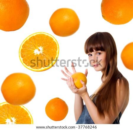 Happy young woman with grapefruit. Studio shot - stock photo