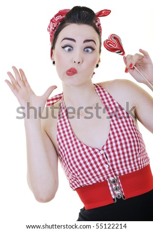 happy young woman with lollipop candy isolated on white