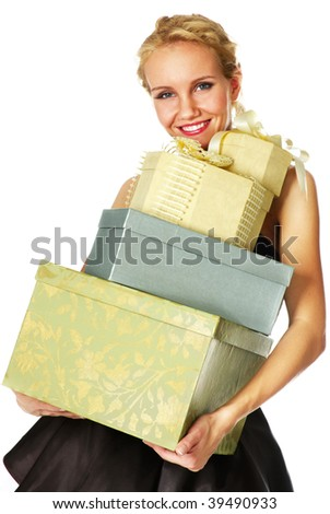 happy young woman with many gift boxes - stock photo