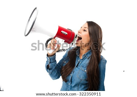 happy young woman with megaphone - stock photo