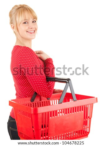 happy young woman with shopping basket, white background