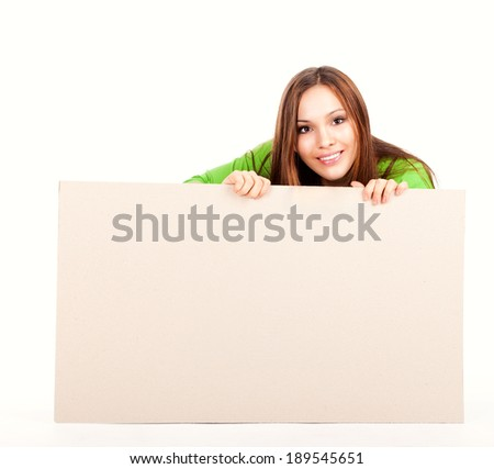 happy young woman with white board, white background - stock photo