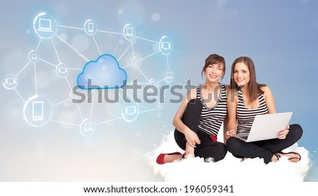 Happy young women sitting on clous with cloud computing - stock photo