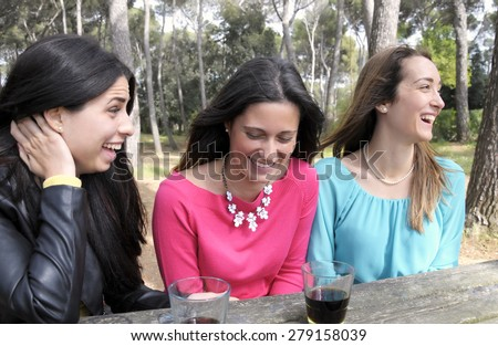 Happy young women smiling and laughing