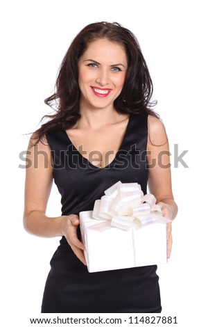 happy young women with a gift