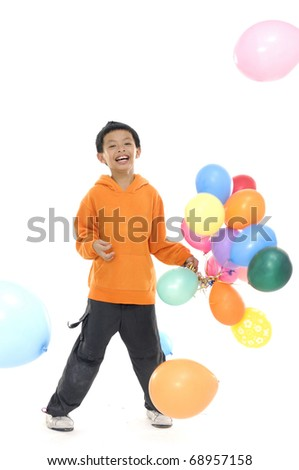 happylittle boy with colorful balloons - stock photo