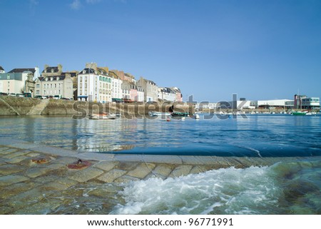 harbor and dock of douarnenez in brittany