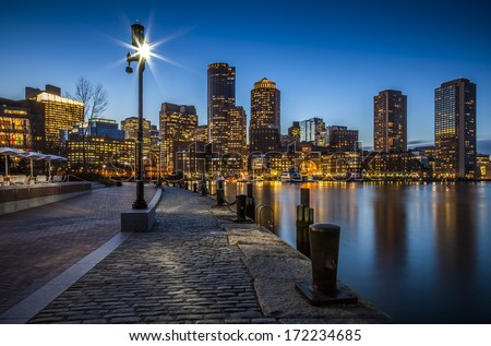 Harbor and Financial District at sunset in Boston, Massachusetts, USA.