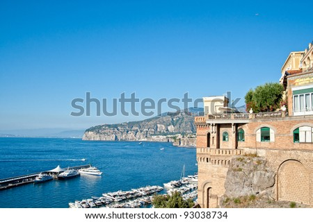 Harbor and old mansion on the amalfi coast, italy - stock photo