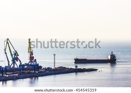 harbor and port with cranes and ships, industrial background - stock photo