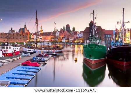 Harbor at Motlawa river with old town of Gdansk in Poland - stock photo