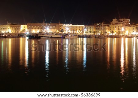 Harbor at night in old city of mediterranean sea