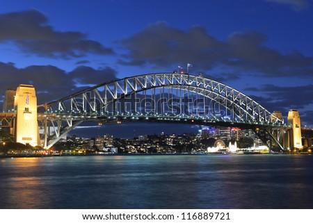Harbor Bridge at twilight - stock photo
