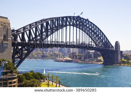 Harbor Bridge in Sydney ,panoramic ,ferry ,downtown ,attraction ,skyscraper, twilight,view ,park ,day ,quay ,tourist,business ,tower south ,place ,wales ,arch ,sunset,district ,illumination   ,rocks - stock photo