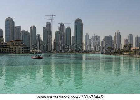 Harbor Dubai Skyline cityscape on sunny day - stock photo
