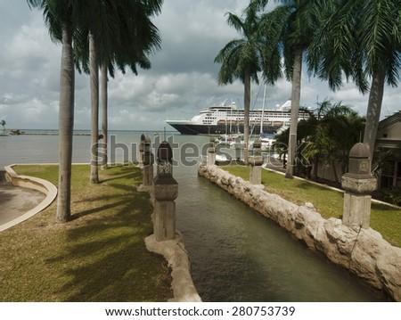 Harbor from Oranjestad, Aruba Island in the Caribbean sea  - stock photo