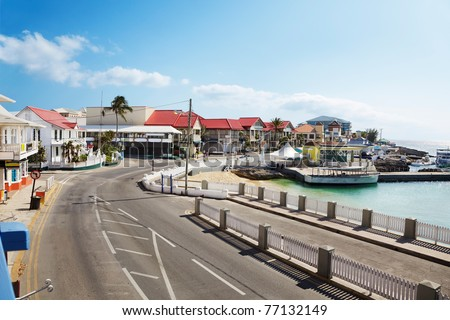 Harbor front road through Georgetown, Grand Cayman - stock photo