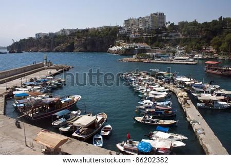 Harbor in Antalya with small boats, Turkey - stock photo