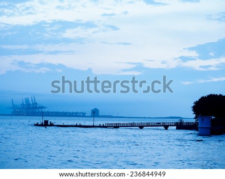 harbor in blue color tone - stock photo