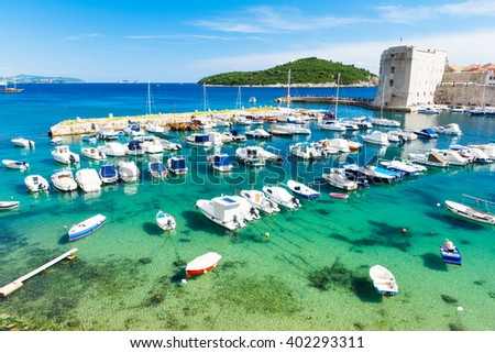 harbor in Dubrovnik, Dalmatia, Croatia - stock photo