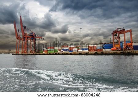 harbor in istanbul - stock photo