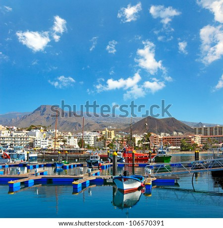 Harbor in Los Cristianos resort town in Tenerife, Canary Islands, Spain - stock photo