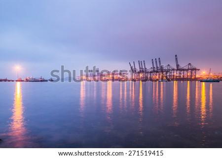 harbor in night, shanghai china. - stock photo
