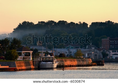 Harbor in the evening - stock photo